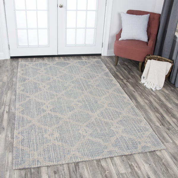 Rizzy Home Opulent Grey/Beige Wool Hand-tufted Area Rug - 10' x 13'