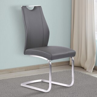 Armen Living Bravo Grey Faux Leather and Stainless Steel Dining Chair - Set of 2
