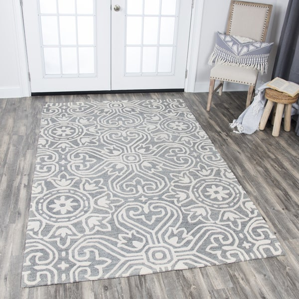 Rizzy Home Hand-tufted Opulent Grey Wool Medallion Area Rug (10' x 13') - 10' x 13'