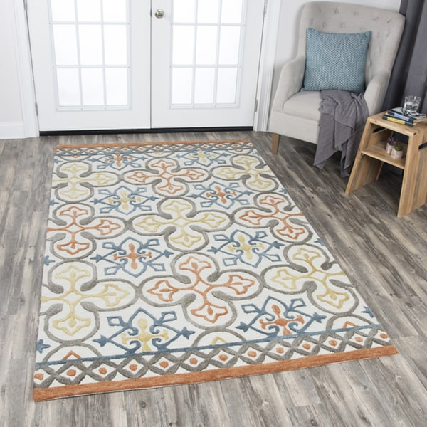 Rizzy Home Hand-tufted Opulent Natural Wool Medallion Area Rug - 10'x13'