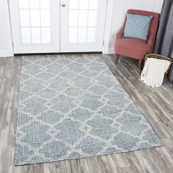 Rizzy Home Hand-tufted Opulent Grey Wool Geometric Area Rug (10' x 13') - 10' x 13'