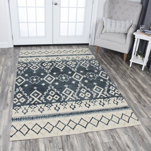 Rizzy Home Opulent Beige and Blue Wool Hand-tufted Tribal Area Rug - 10'x13'