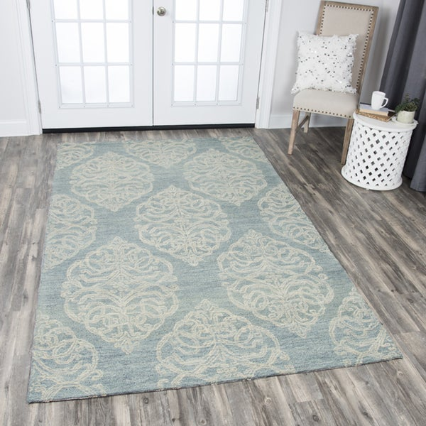 Rizzy Home Hand-tufted Opulent Light Blue Wool Medallion Area Rug (10' x 13') - 10' x 13'