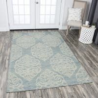 Rizzy Home Hand-tufted Opulent Light Blue Wool Medallion Area Rug - 10' x 13'
