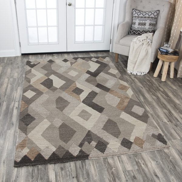 Rizzy Home Beige Wool Hand-tufted Geometric Area Rug - 10' x 13'