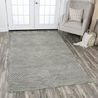Rizzy Home Idyllic Grey Wool Hand-tufted Solid Area Rug (10' x 13') - 10' x 13'