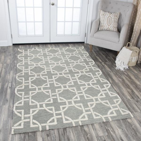 Rizzy Home Idyllic Grey/White Wool Hand-tufted Geometric Area Rug - 10' x 13'