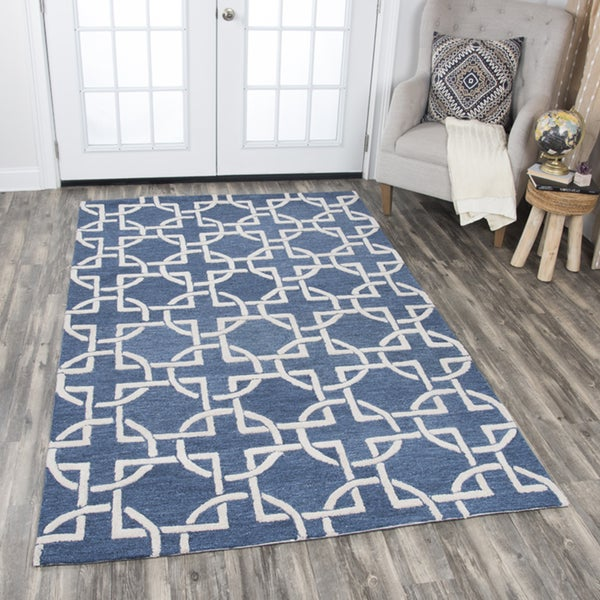 Rizzy Home Hand-tufted Idyllic Blue Wool Interlocking Circles Area Rug - 10' x 13'