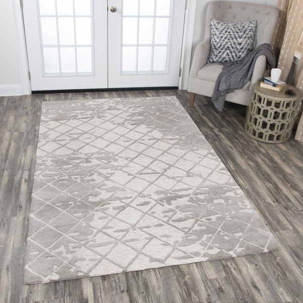 Rizzy Home Idyllic Natural Wool Hand-tufted Abstract Area Rug - 10' x 13'