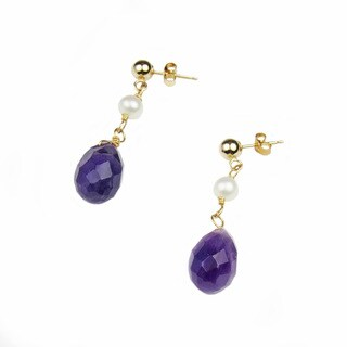 Pearl Lustre 14k yellow gold dangle earring with amesthyst and freshwater pearl.