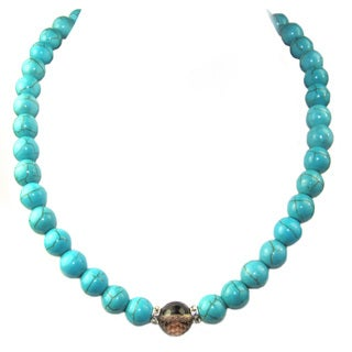 Pearl Lustre Turquoise and crystal necklace.