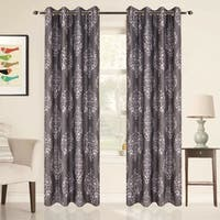 CIMBOO Textured Linen Medallion Blackout Thermal Grommet Top 84-inch Window Curtain Pair