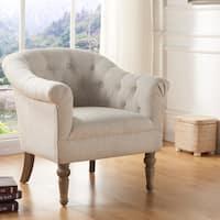 Welbeck Fabric/Blue Velvet Tufted Arm Chair
