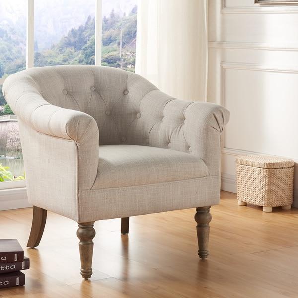 Shop Welbeck Fabric/Blue Velvet Tufted Arm Chair