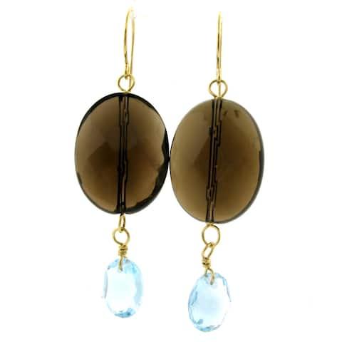 Dangling Faceted Blue Topaz Earrings by Pearl Lustre - 8' x 10'