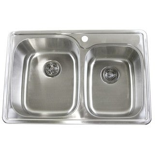 33-Inch x 22-Inch Stainless Steel 18-gauge Double Bowl 60/40 Drop-In Top Mount Kitchen Sink - Silver