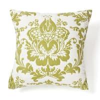 Delilah White and Green Cotton Throw Pillow
