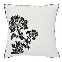 Cottie White and Black Cotton 20-inch Floral Throw Pillow