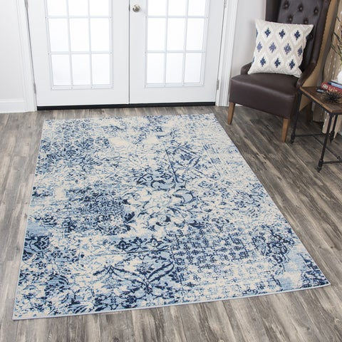 """Rizzy Home Panache Ivory/Blue Distressed Floral Area Rug (5'3 x 7'6) - 5'3"""" x 7'6"""""""