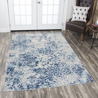 Rizzy Home Panache Ivory/Blue Distressed Floral Area Rug (5'3 x 7'6)