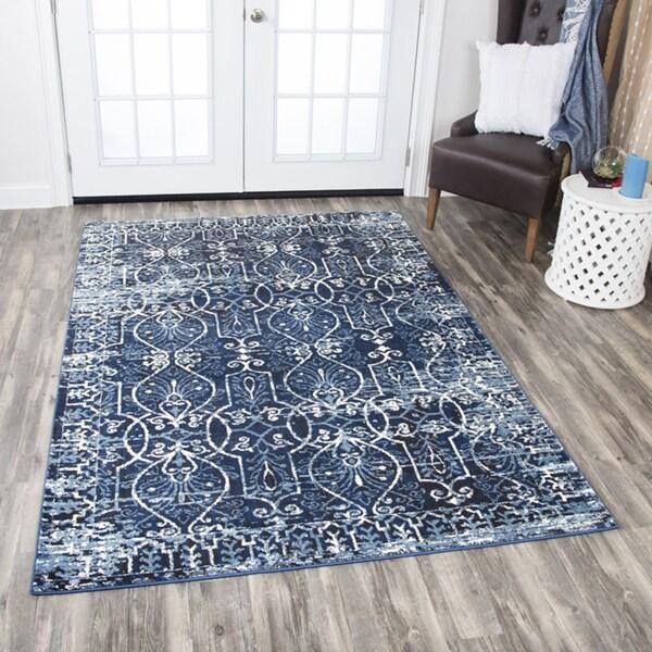 Do Area Rugs Work Over Carpet: Shop Rizzy Home Panache Dark Blue Scrollwork Area Rug (5'3