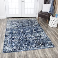 "Rizzy Home Panache Blue Distressed Scroll-patterned Area Rug (6'7 x 9'6) - 6'7"" x 9'6"""