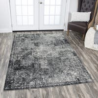 Rizzy Home Panache Grey Central Medallion Floral Area Rug - 6'7 x 9'6