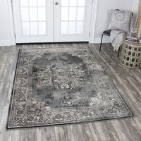 Rizzy Home Panache Grey/Black/Ivory Distressed Central Medallion Area Rug - 5'3 x 7'6