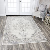 Rizzy Home Panache Beige Distressed Medallion Area Rug - 5'3 x 7'6