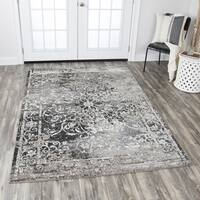 "Panache Distressed Taupe Polypropylene Central Medallion Scrollwork Area Rug (6'7 x 9'6) - 6'7"" x 9'6"""