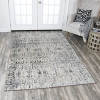 Rizzy Home Panache Taupe Scrollwork-patterned Distressed Area Rug - 5'3 x 7'6