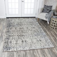 "Rizzy Home Panache Taupe Scroll-patterned Distressed Area Rug (6'7x9'6) - 6'7"" x 9'6"""
