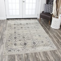 Distressed Panache Beige Floral Medallion Area Rug - 6'7 x 9'6