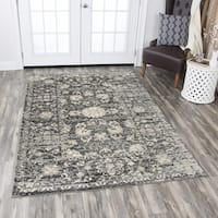 Rizzy Home Panache Grey Floral Distress Area Rug - 5'3 x 7'6