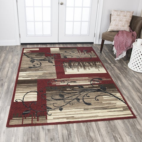 """Rizzy Home Xcite Red/Beige Patchwork Area Rug (5'2 x 7'3) - 5'2"""" x 7'2"""""""