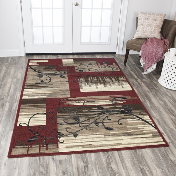 Shop Rizzy Home Xcite Red Beige Patchwork Area Rug 5 2 X