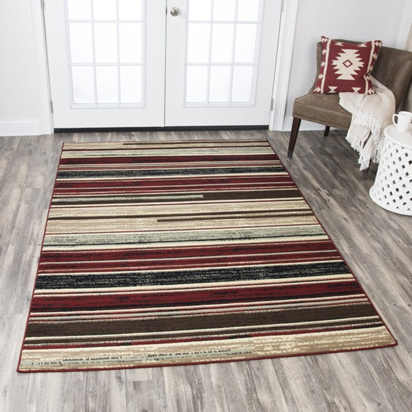 Shop Rizzy Home Xcite Beige Strips Area Rug (5'2 x 7'3) - 5'2