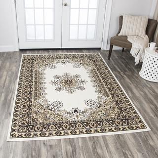 """Rizzy Home Xcite Ivory Central Medallion Area Rug (5'2 x 7'3) - 5'2"""" x 7'2"""""""