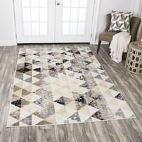 """Rizzy Home Xcite Ivory Triangles Distressed Area Rug - 5'2"""" x 7'2"""""""