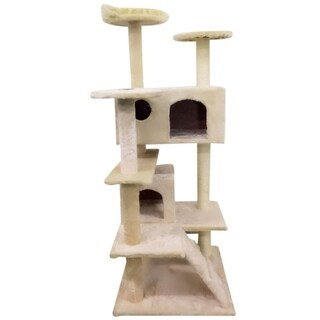 "52"" Sisal Rope Plush Cat Tower"