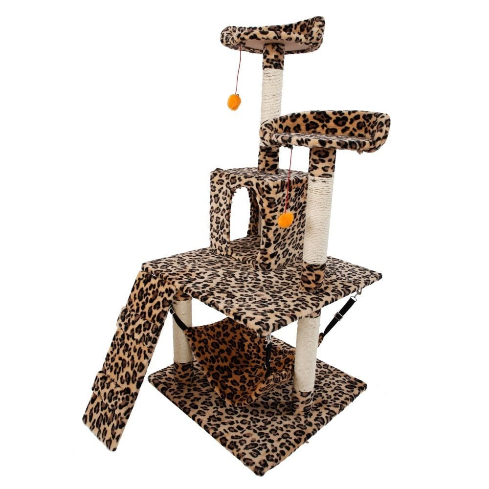 "51"" Sisal Leopard Print Cat Tower (Leopard Print), Tan"