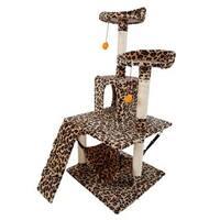 "51"" Sisal Leopard Print Cat Tower"