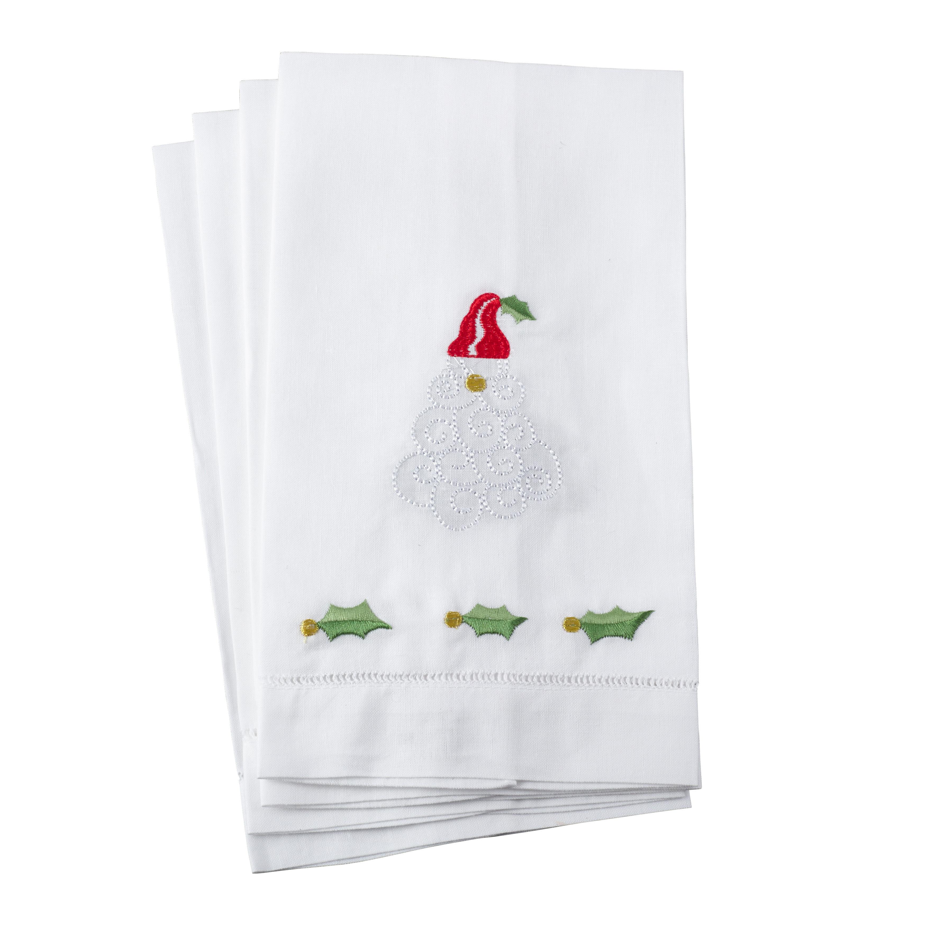Saro Embroidered Santa Claus Christmas Hemstitched Linen ...