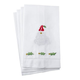 Embroidered Santa Claus Christmas Hemstitched Linen Cotton Guest Towel - Set of 4