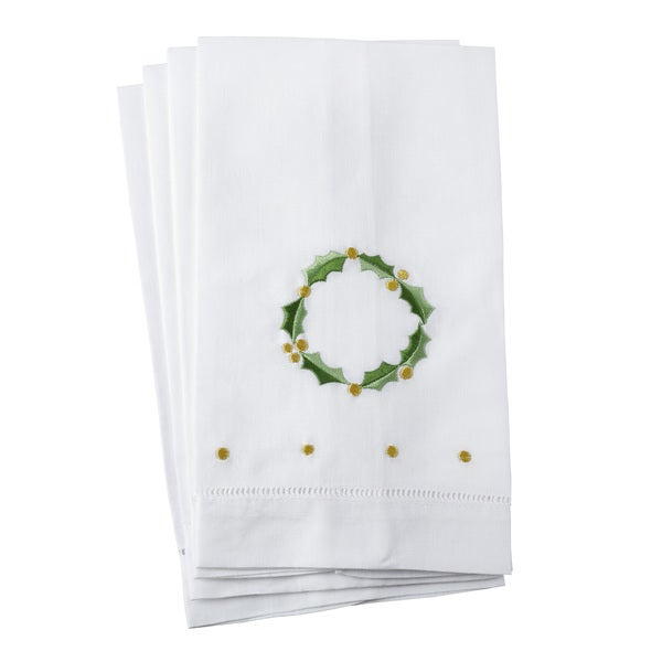 Holly Leaf Wreath Embroidery Christmas Hemstitched Linen Cotton Guest Towel - Set of 4
