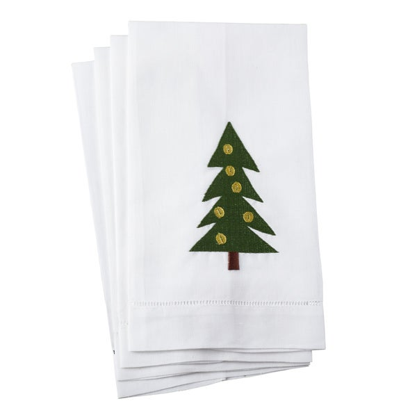 Christmas Tree Embroidery Design Hemstitched Linen Cotton Guest Towel - Set of 4
