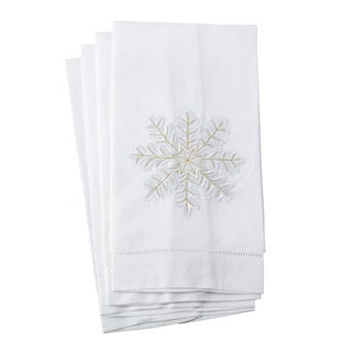 Embroidered Snowflake Design Hemstitched Linen Cotton Guest Towel - Set of 4