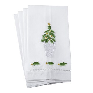 Embroidered Holly Leaf Christmas Tree Design Hemstitched Linen Cotton Guest Towel - Set of 4