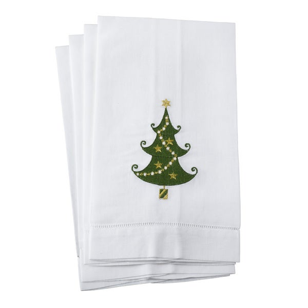 Shop Embroidered Christmas Tree Motif Hemstitched Linen