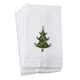 Embroidered Christmas Tree Motif Hemstitched Linen Cotton Guest Towel - Set of 4